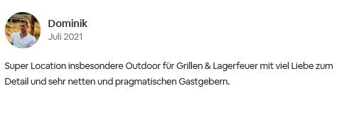 Super Location insbesondere Outdoor für Grillen & Lagerfeuer mit viel Liebe zum Detail und sehr netten und pragmatischen Gastgebern.